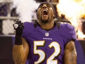"Ray Lewis was recently voted to the ""All NFL Unbearable Pre-game Speech Team"""